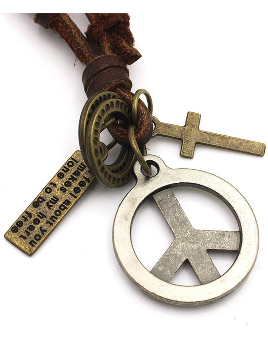 Peace & Faith Symbol Pendant Men's Necklace