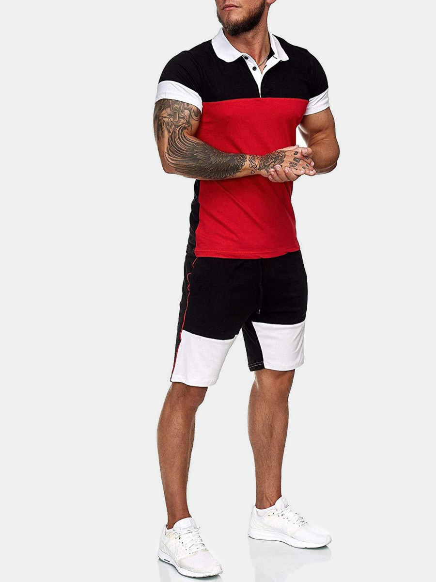 XmenGo wholesale 2 Pieces Colorblock Outfits Polo T-shirt With Shorts