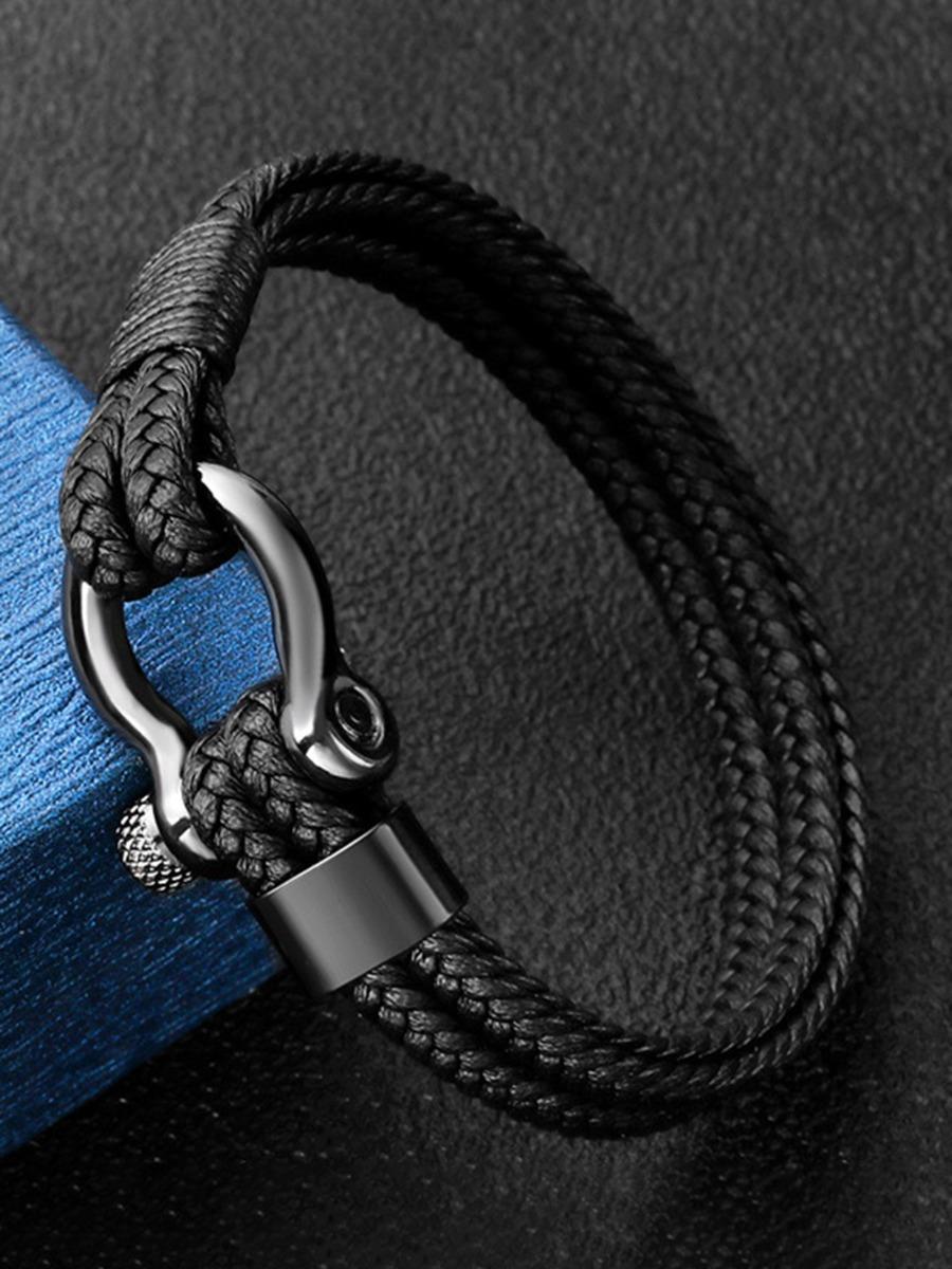 Steel Buckle Weave Leather Black Bracelet