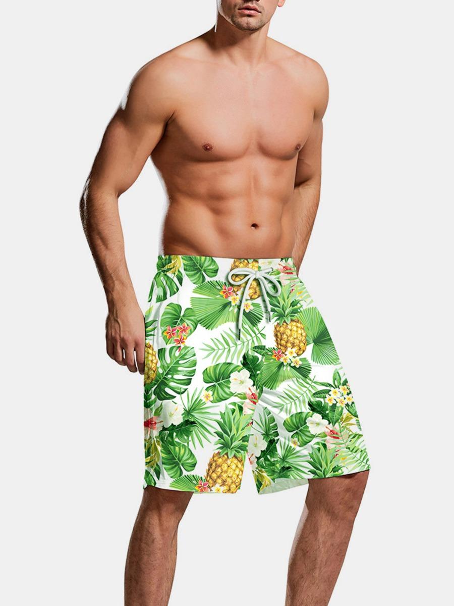 xmengo wholesale Men Pineapple Print Drawstring Swimming Trunks