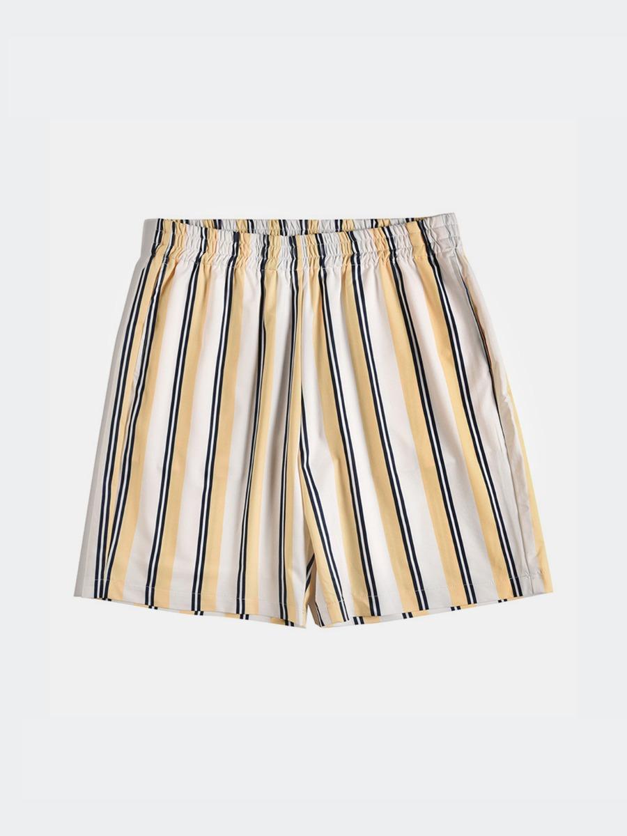 xmengo wholesale Men Stripe Elastic Waist Swim Trunks